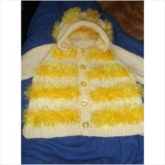 Hand Knitted Baby Hoodie in Lemon and Funky Fur size 22 inch on eBid United Kingdom  £12.99