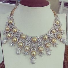 Introducing our customized South-Sea Pearl necklace. This masterpiece contains carats of Diamonds and 18 lustrous golden Pearls. Hand-made masterpiece made in Yangon- Myanmar. Cute Jewelry, Modern Jewelry, Pearl Jewelry, Diamond Jewelry, Jewelry Necklaces, Pearl Necklaces, Jewelry Holder, Statement Jewelry, Crystal Jewelry
