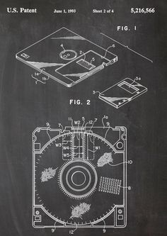 Floppy disc patent drawing Floppy Diskette Patent-Zeichnung  http://de.dawanda.com/product/78302947-Floppy-Disk-Diskette-Computer-Druck-Patent