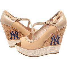Cuce Shoes New York Yankees Womens Winning Wedge - Tan