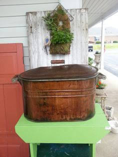 COPPER BOILERS MAKE GREAT PLANTERS OR FOR STORAGE