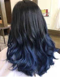 Trendy hair ombre black blue dip dye ideas - All For Hair Color Balayage Ombre Pastel Hair, Bob Pastel, Grunge Pastel, Dark Blue Hair, Ombre Hair Color, Hair Color For Black Hair, Cool Hair Color, Black Hair With Blue, Midnight Blue Hair