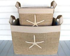 Set of Two Coastal Fabric Storage Baskets with by coastalseasons, $64.00