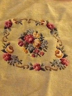 "20x20"" SHABBY ROSES Vintage PREWORKED Needlepoint Canvas Sage Green Background  