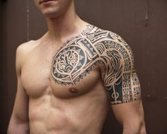 Sexy Men Half Sleeve Tattoos | Black Ink Samoan Tribal Half Sleeve Tattoo