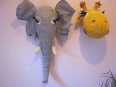 Crochet Trophy Head Wall Hanging Faux Taxidermy Home Decor Elephant Amigurumi Grey DENNIS Wool Stuffed Animal Soft Sculpture HUGE Fiber Art Dennis is approx. a whopping 35 x 21 x 9 Hand crafted in crochet from wool blend yarn Ears do have wire around the edge so they can be