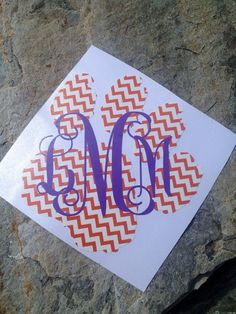 Instead of Clemson should be gamecocks!!!!  Clemson Monogrammed Chevron Car Decal on Etsy, $12.00