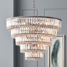 Magnificence Satin Nickel 24 And One Half Inch Wide Crystal Chandelier Chandelier Design, Entry Chandelier, Chandelier Lighting Fixtures, Bronze Chandelier, Chandelier Shades, Pendant Chandelier, Lamp Design, Light Fixtures, Chandelier Ideas