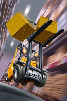The topic of this illustration was not to take a Forklift like a race car and avoid the potential danger for the drivers and coworkers. Paintool Sai and Photoshop.