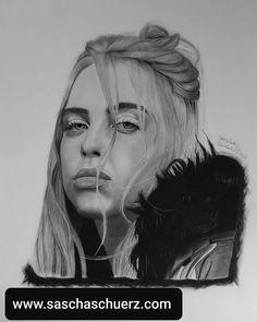 Billie Eilish drawing by Sascha Schürz Pencil Art Drawings, Cool Drawings, Drawing Sketches, Billie Eilish, Drawing Tutorials For Beginners, Album Cover, Charcoal Portraits, Photorealism, Paper Art