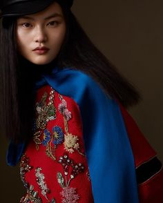 - As seen in , wears a jewelled garden embroidered jumper from the Alexander McQueen Spring/Summer 2018 pre-collection. Couture Embroidery, Vogue China, Spring Summer 2018, Runway Models, Supermodels, Fashion News, Alexander Mcqueen, Stylists, High Neck Dress