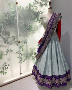 Stunning ice blue color lehenga and blouse with purple color dupatta. Lehenga and blouse with hand embroidery work. Paisley Bridal Collection 2019 from Mrunalini Rao. Lehenga Saree Design, Half Saree Lehenga, Blue Lehenga, Lehnga Dress, Indian Lehenga, Silk Lehenga, Lehenga Designs, Saree Blouse Designs, Pakistani