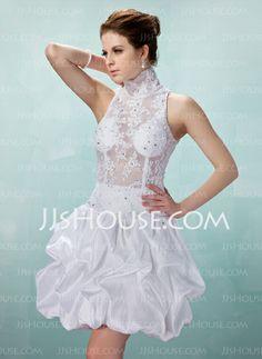 Cocktail Dresses - $176.99 - A-Line/Princess High Neck Short/Mini Taffeta Lace Cocktail Dress With Ruffle Beading (016008897) http://jjshouse.com/A-Line-Princess-High-Neck-Short-Mini-Taffeta-Lace-Cocktail-Dress-With-Ruffle-Beading-016008897-g8897