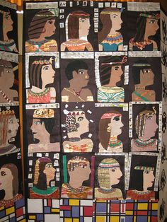 egyptian profiles —great way to slip some practical portrait instruction in with a fun hieroglyphic study.
