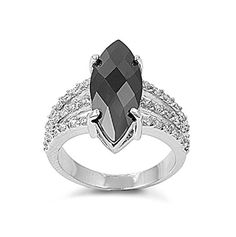 Carat Marquise Cut Swarovski Crystal Jet Black Diamond CZ Russian Iced Out Diamond CZ 925 Sterling Silver Ladies Cocktail Ring Top Gift Thing 1, Cubic Zirconia Rings, Top Gifts, Black Rings, Anniversary Rings, Gemstone Colors, Cocktail Rings, Beautiful Rings, Black Diamond