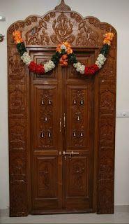 56 new ideas for puja room door design Wooden Main Door Design, Pooja Room Door Design, Single Main Door Designs, Wooden Room, Puja Room, House Front Design, Room Doors, Designer, Inspiration