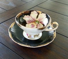 Antique Japanese Lusterware black and cream teacup ♥ by Pickedtwice