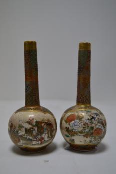 JAPON Paire de vases soliflores en satsuma 12,4 cm Vases, Art Nouveau, Satsuma Vase, Art Asiatique, Art En Ligne, Objet D'art, Oeuvre D'art, Candle Holders, Candles