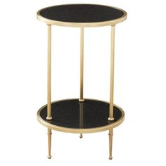 Leonard Side Table - <p>Two tiered side table in antique brass with black granite inlay</p><p>Also available in Nickel </p>
