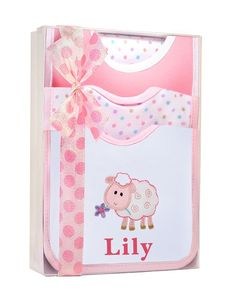 Zebi baby burp cloths pink at willobaby lucy lamb 6 piece bib and burp cloth personalized baby gift set in pink sheep negle Image collections