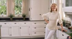 In the 2003 crowd-pleaser Something's Gotta Give, Diane Keaton plays a successful playwright who likes to cook. Set decorator Beth Rubino met the challenge and set off a stampede for Keaton Kitchen Wannahaves. We still haven't seen the end of white cabinets, soapstone countertops, and nickel bin pulls.