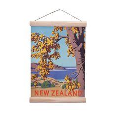 New Zealand Retro Mini Wall Chart Kowhai Small