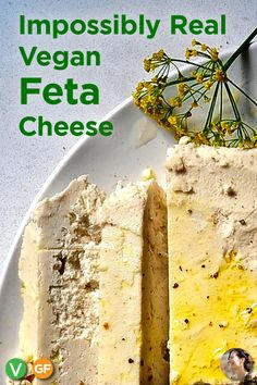 Vegan Feta Cheese Recipe, A delicious and easy soy free and gluten free Almond Based dairy free cheese recipe that slices like real greek feta. Use it in your Greek Salads, spanakopita - SunnysideHanne A tangy marinated vegan feta chee Almond Recipes, Greek Recipes, Dairy Free Recipes, Raw Food Recipes, Gluten Free, Vegan Feta Cheese, Feta Cheese Recipes, Dairy Free Cheese, Vegan Foods