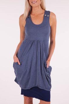 Vigorella Draped Tunic w Button Detail - Womens Short Dresses at Birdsnest Fashion