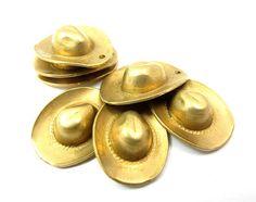 [CARL]  Raw Brass Cowboy Hat Charms 6X M796 by EpochBeads on Etsy