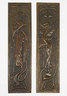A Pair of British Arts & Crafts Panels. Repousse copper panels depict a nymph on a ball with a Bacchus head behind her, and organic decoration throughout. The other panels is an angel of darkness which hides its head while a winged skull hovers overhead Height: 12.75""