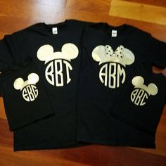 Disney Inspired Matching Family T shirt T-shirts Mickey Ears Ear Monogram Initials Gold on Black Vacation Shirts by GraphXVinylandMore on Etsy