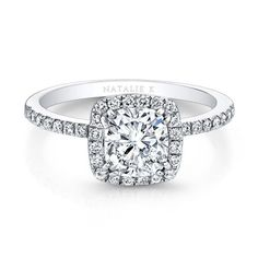 DREAM RING! Cushion cut halo with super thin band 18K White Gold Diamond Halo Engagement Ring - FM29509-18W