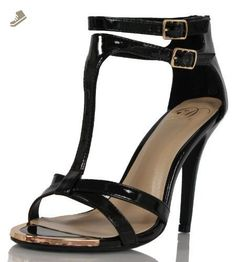 Delicious Women's Pando Faux Leather T-Strap Double Ankle Strap High Heels, Black, 55 M US (8 M US Women) - Delicious pumps for women (*Amazon Partner-Link)
