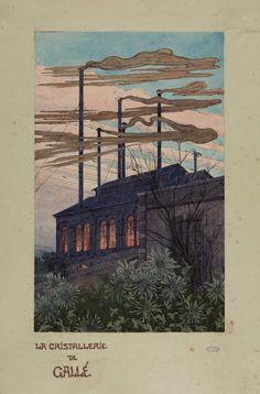 Auguste Herbst,  Cristallerie de Gallé, Aquarelle sur papier