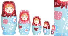 Matriochkas Natalaya - Poupées russes en bois roses Le Coin Des Enfants - Le Coin Des Enfants