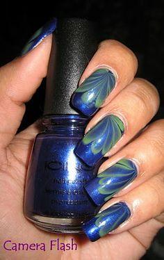 """My Simple Little Pleasures: NOTD: """"Seaweed"""" Water Marble See the tutorial: http://youtu.be/n9YURDCwdVs"""