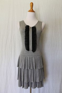 Twelve by Twelve Los Angeles Soft Viscose knit Gray Tired knit Tiered Dress sz S #TwelvebyTwelve #Tiered #Casual