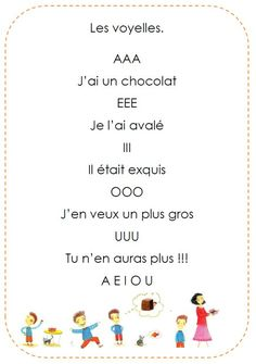 Chanson des voyelles French Poems, French Phrases, Nursery Rhymes Songs, French Education, French Grammar, Kids Poems, Kindergarten Fun, French Immersion, French Language Learning