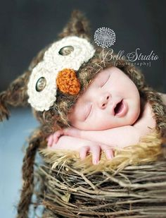 Babies + owls? It doesn't get any cuter. Photo by Belle Studio photography, visit them here: