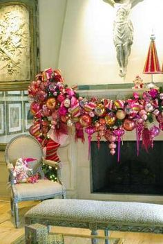 Mantel Swag DRIPPING with gorgeous ornaments