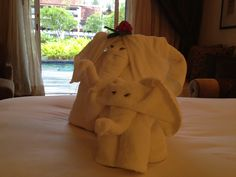 Elephant towels in the room