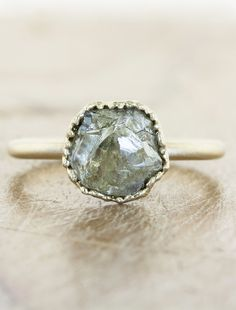 Unique Rough diamond engagement ring by Ken & Dana Design in NYC