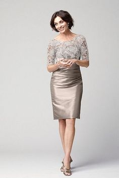 Taupe Mother of the Bride Dress, Knee Length