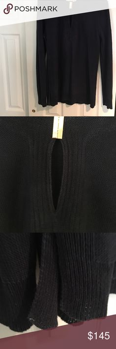 Navy blue  ToryBurch Tunic Sweater material keyhole held together by gold clasp longer length as well as sleeves. Tory Burch Sweaters