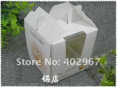 Box Cupcake Favour Package Boxes Cake Holder With Handle 100pcs Lot