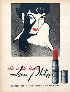 Louis Philippe (Cosmetics) 1952 René Gruau, Lipstick