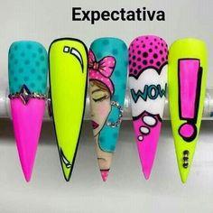 Ongles Pop Art, Pop Art Nails, Nail Pops, Crazy Nails, Funky Nails, Neon Nails, Dope Nails, Pastel Nails, Bling Nails