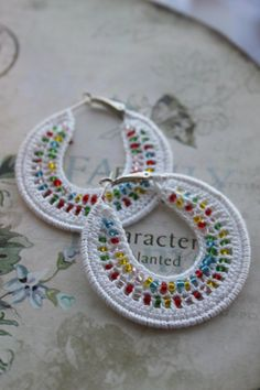 Handmade Earrings Crocheted Hoops 50mm Silver Plated by DoilyWorld, £7.79