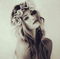 Boho bride hairdo: boho headpiece: flowers: rose: boho wedding www.bridalshoes.com.au