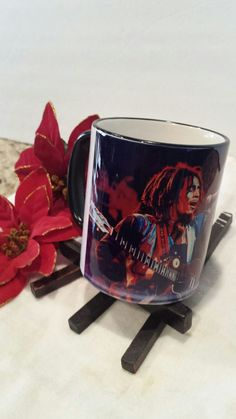 **Bob Marley** Crazy Mug. More fantastic cups & pots, pictures, music and videos of *Robert Nesta Marley* on: https://de.pinterest.com/ReggaeHeart/ https://www.etsy.com/de/shop/ExpressiveDecors?ref=l2-shopheader-name